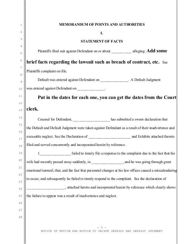 Sample California motion to vacate judgment with attorney affidavit o…