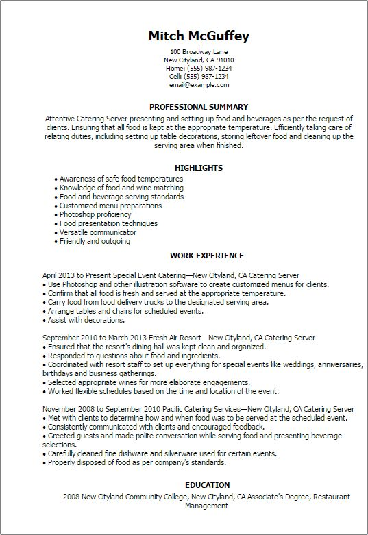 catering manager resume berathen with catering manager resume ...