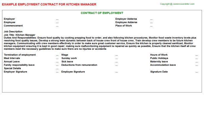 Kitchen Manager Employment Contract