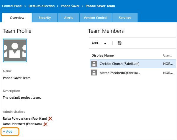 Add administrators TFS | Microsoft Docs