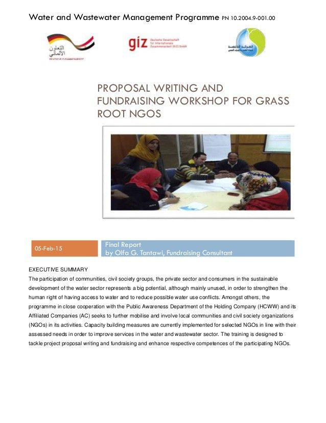 Proposal writing and fundraising workshop for Grass Root NGOs Final R…