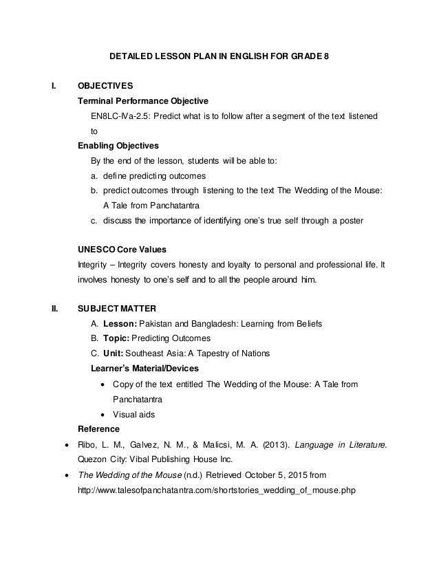 Lesson Plan Objectives. Lesson Plan For Grade 7 English (Gladiola ...