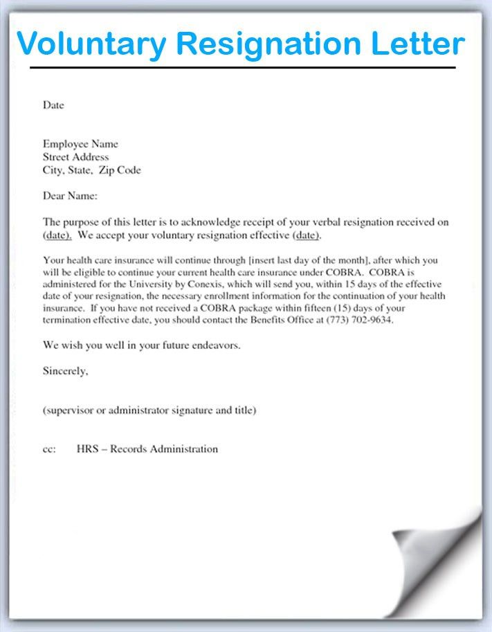 Resignation Letter Format: Employee Name Voluntary Resignation ...