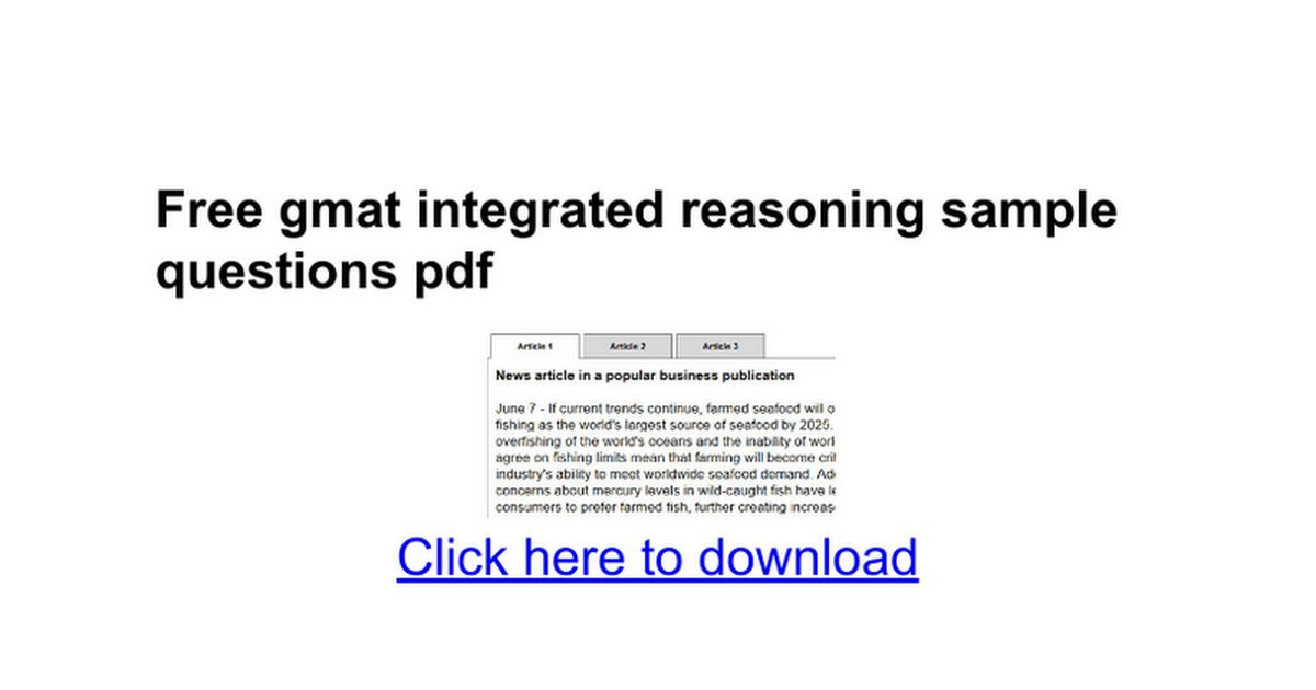 Free gmat integrated reasoning sample questions pdf - Google Docs