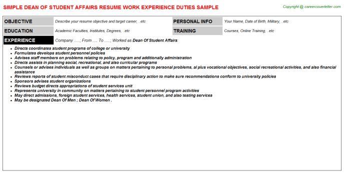 Dean Of Student Affairs Resume Sample