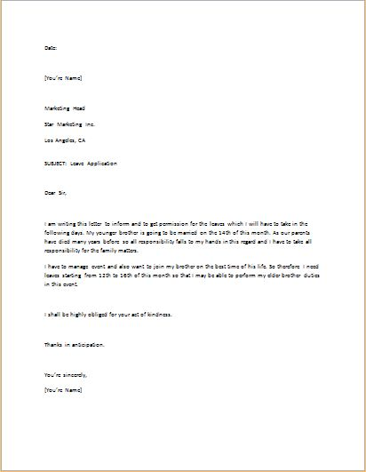 Leave Application Letter Template for WORD | Word & Excel Templates