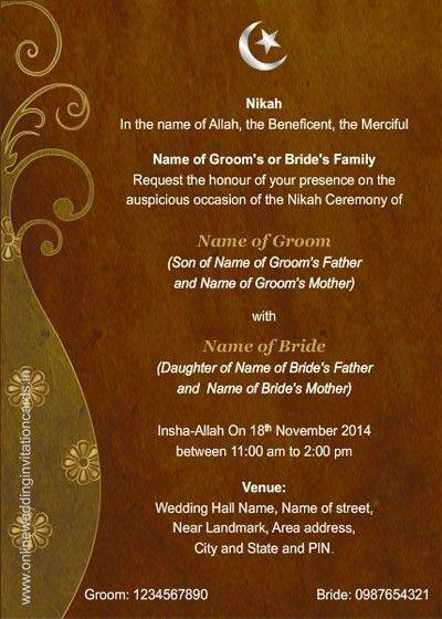 Cozy Muslim Marriage Invitation Card Sample 17 On Sample ...