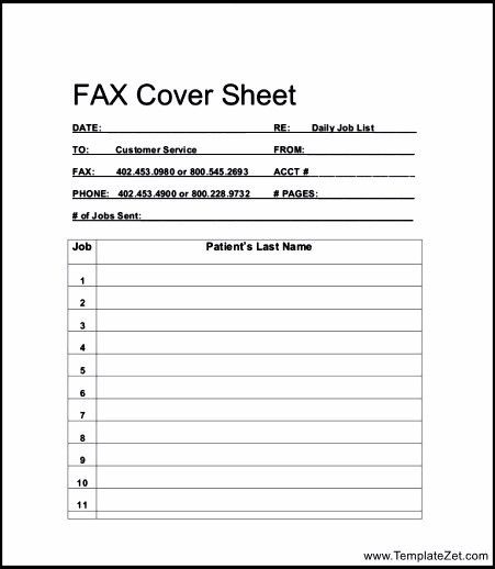 Fax Cover Sheet for Resume Example | TemplateZet