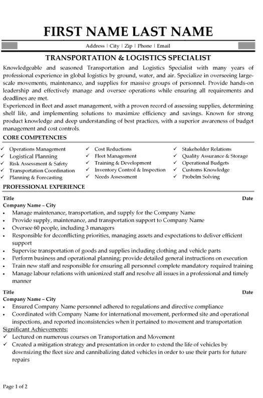 sample resume resume objective logistics coordinator moveresume - Monstercom Resume Samples