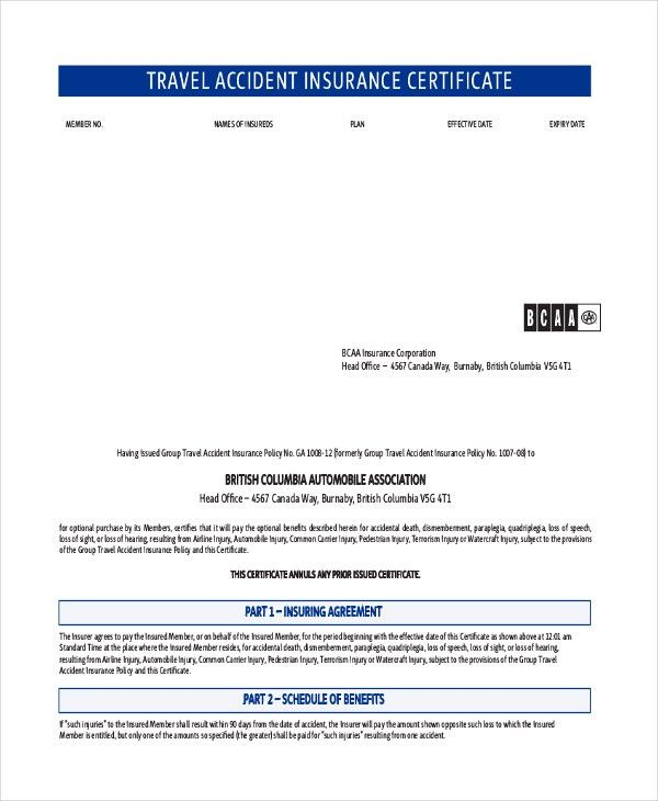 Travel Certificate Template - 7+ Free PDF Documents Download ...