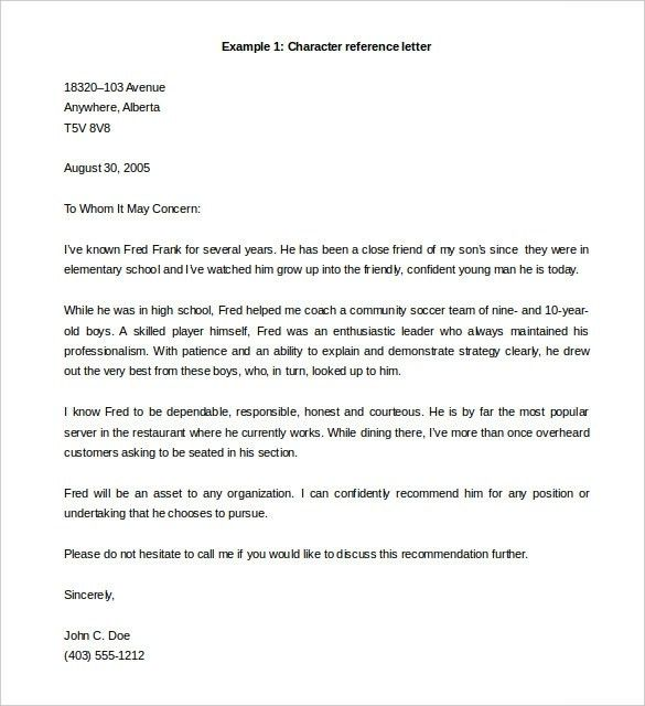 Templates Character Reference Letter Sample Character Reference ...