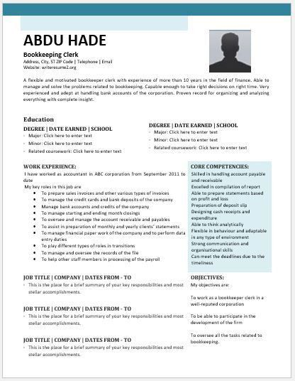 Bookkeeping Clerk Resume Contents, Layouts & Templates | Resume ...