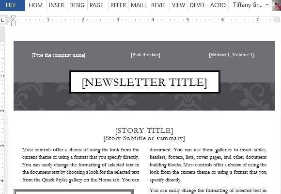 Black Tie Newsletter Design Template For Word