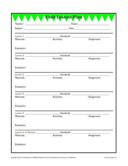 Detailed Unit Lesson Plan Template - Elementary - Reading ...
