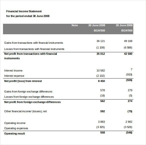 9+ Word Income Statement Templates Free Download | Free & Premium ...