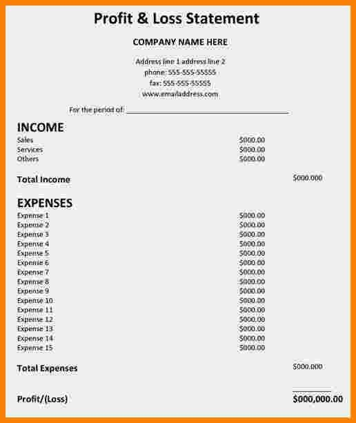 8+ profit and loss statement template | Statement Information