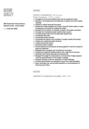 Project Coordinator Resume Sample | Velvet Jobs