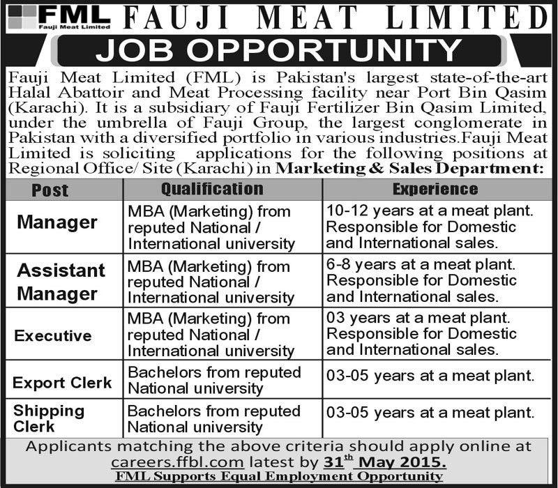 Assistant Manager Job, Karachi Fauji Meat Limited Job - Jhang Jobs