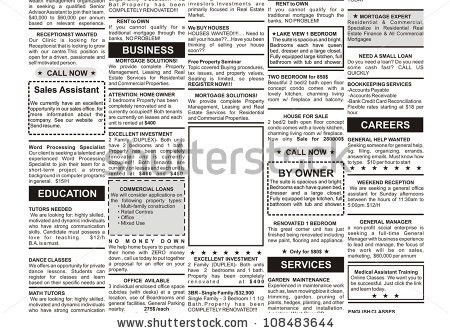 Fake Classified Ad Newspaper Business Concept Stock Photo ...