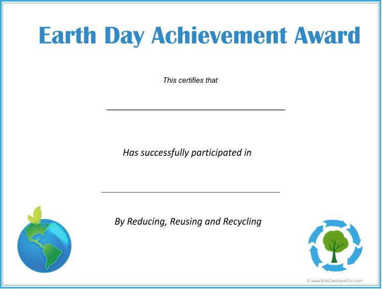 Eco-Kids, Earth Day Certificates, Student Eco-Friendly Awards