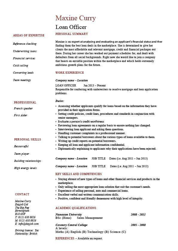 Loan officer resume, example, sample, banks, mortgage, equity ...