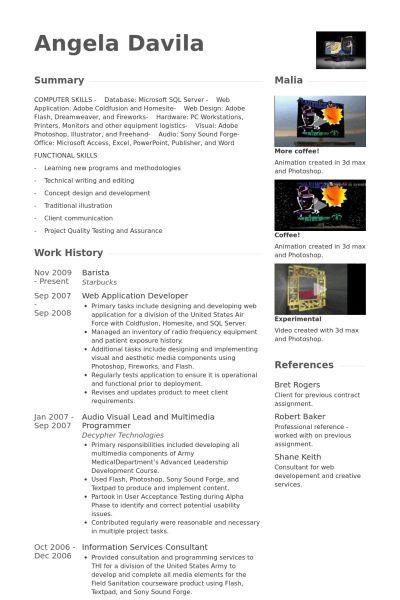 Barista CV Örneği - VisualCV Özgeçmiş Örnekleri Veritabanı