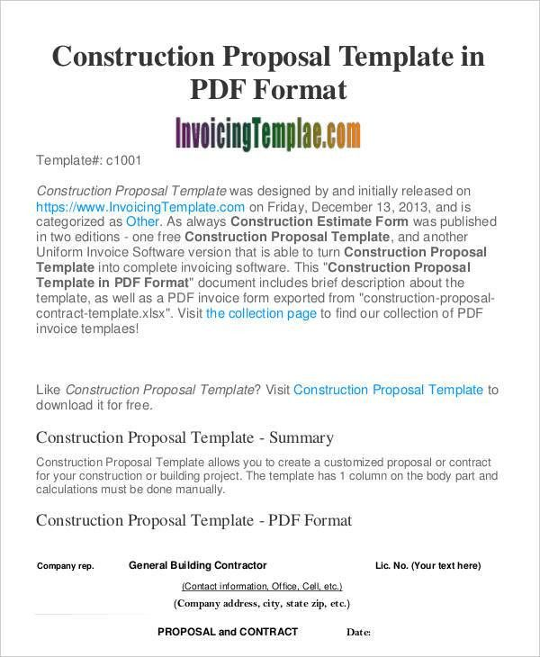 construction proposal template word