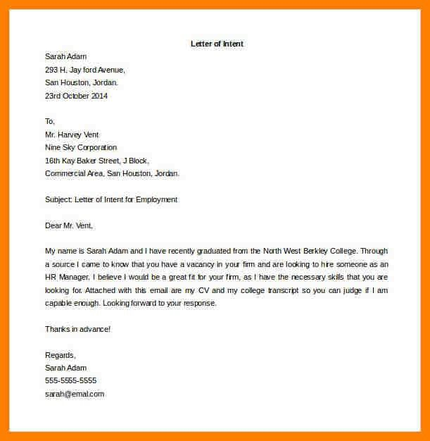 7 letter of intent job coaching resume - Letter Of Intent For Employment Template