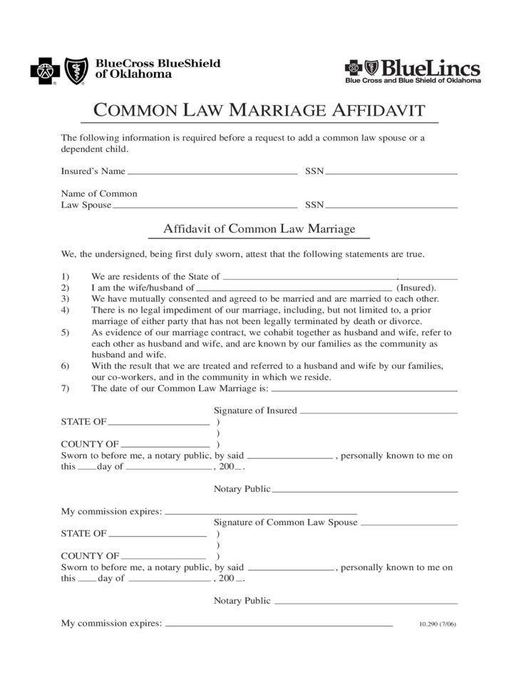 Common Law Marriage Affidavit - Oklahoma Free Download
