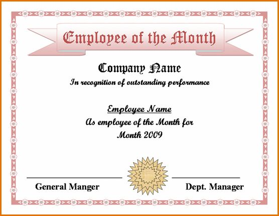 Employee of the month template employee of the month template 7 employee of the month certificate template job resumes word pronofoot35fo Image collections