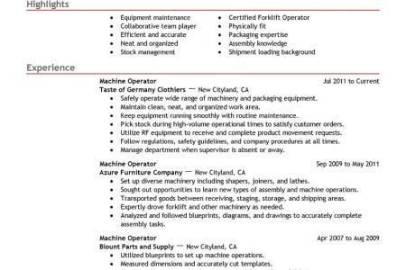 Forklift Operator Resume Sample My Perfect Resume, Production ...