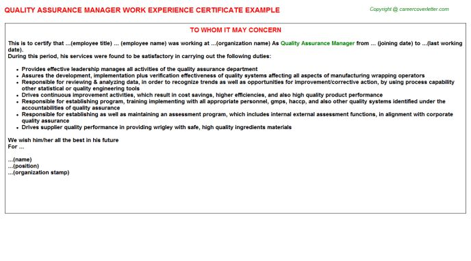 Quality Assurance Analyst Work Experience Letters