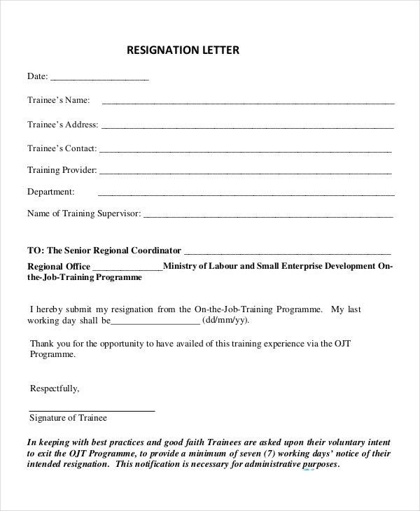 Appreciative Resignation Letter - 7+ Free Word, PDF Documents ...