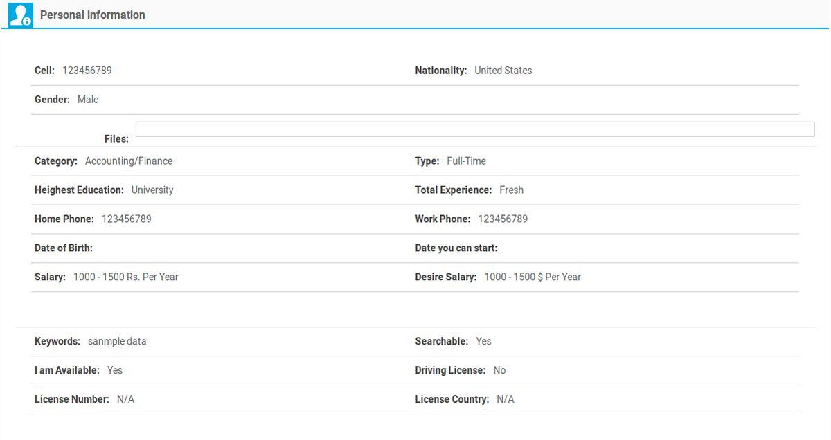View Resume | JoomSky Documentation