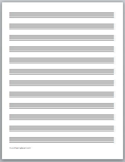 Printable Staff Paper Template. Free Blank Sheet Music Free Blank .