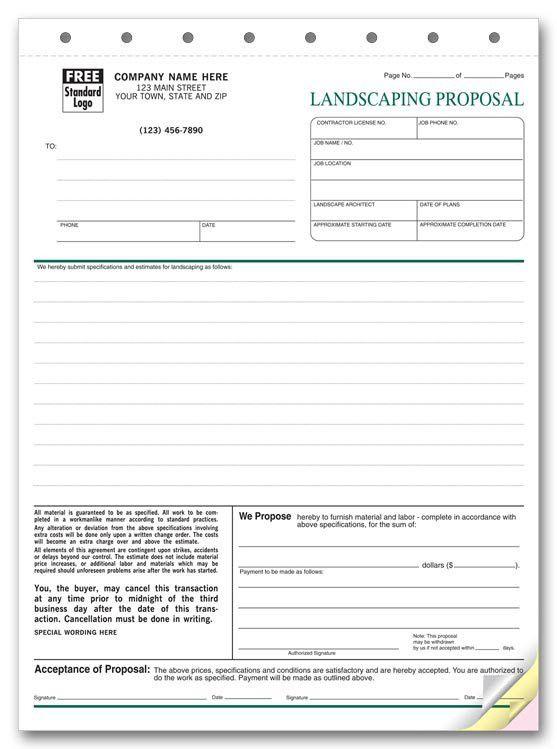"""5568 Landscape Proposal Proposal Form 8 1/2 x 11"""""""