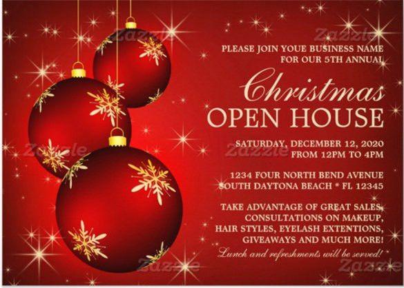 Christmas Invitation Template. Business Christmas Open House ...
