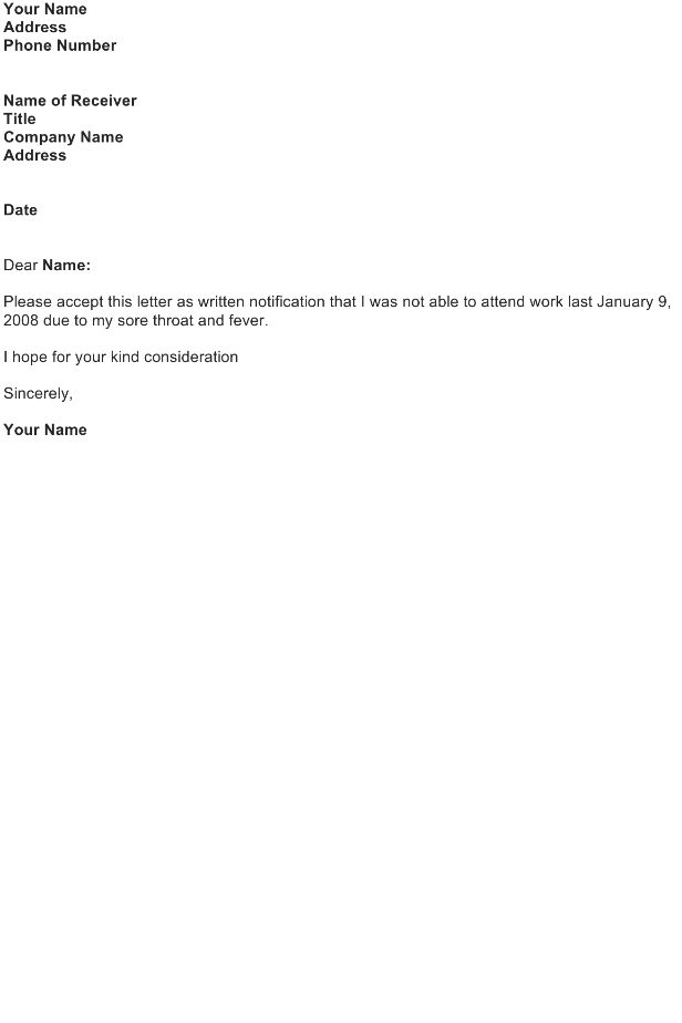 Excuse Letter Sample - Download FREE Business Letter Templates and ...