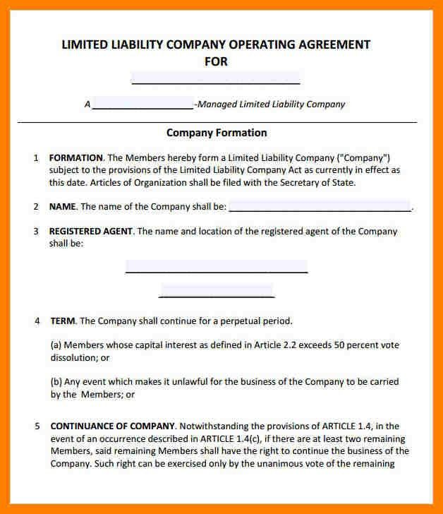 7+ llc operating agreement sample | packaging clerks