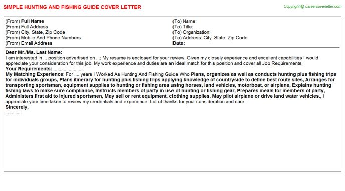Hunting And Fishing Guide Cover Letter