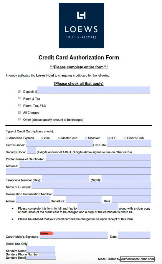Free Loews Hotel Credit Card Authorization Form - PDF
