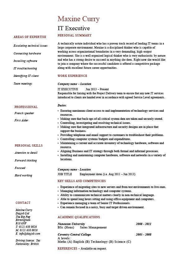 IT executive resume, example, sample, technology, technical skills ...