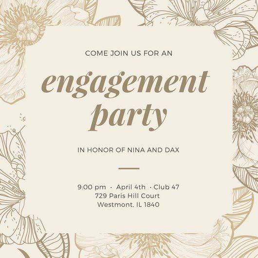 Cream Floral Engagement Invitation - Templates by Canva