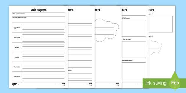 Science Lab Report Differentiated Writing Template - CfE