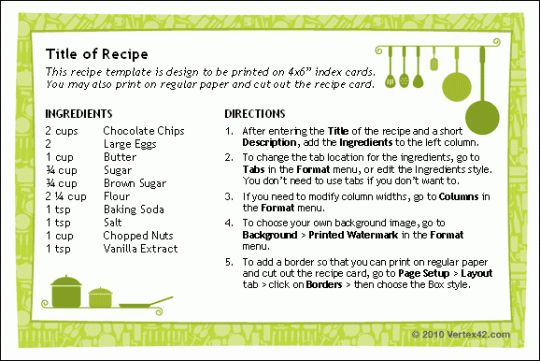 Recipe Cards for Word - Free download and software reviews - CNET ...