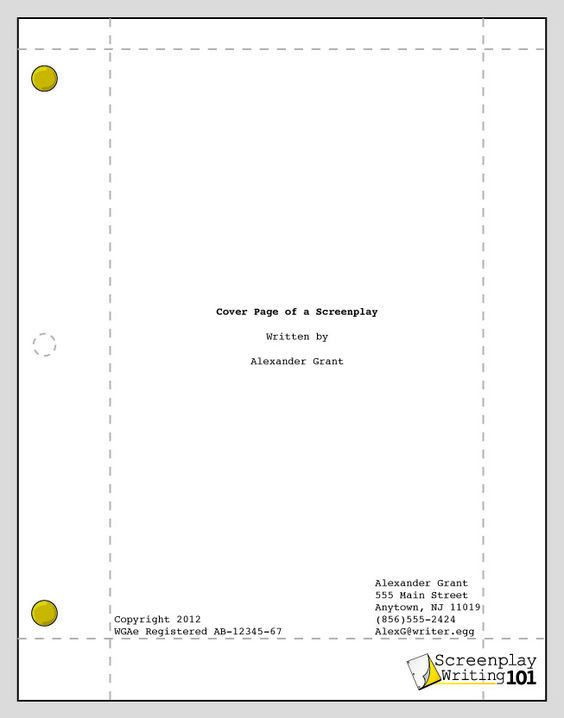 Cover Page! | Screenplay Format | Pinterest