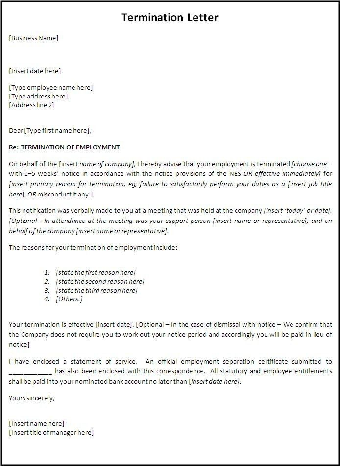 Free Professional termination letter, samples & Formats for ...