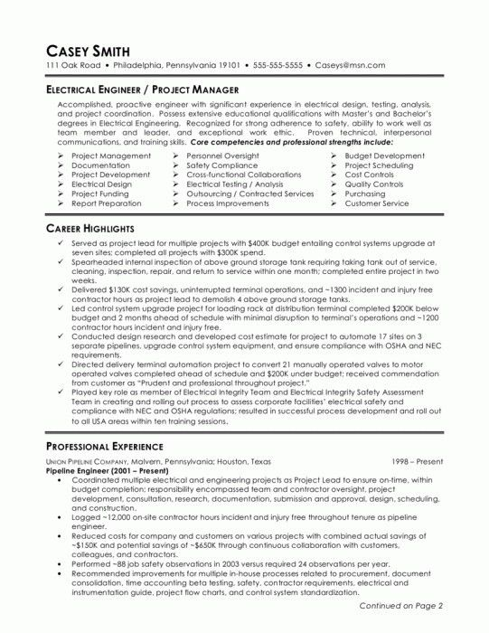 Stylish Sample Resume For Experienced Electrical Engineer   Resume ...