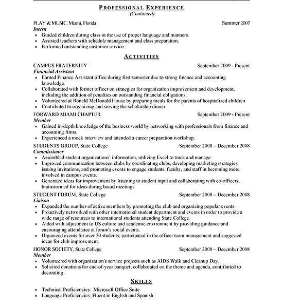 example internship resume 8 internship resume template budget free ...