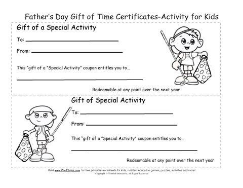 Printable Father's Day Gift Certificates Coloring Sheets